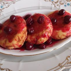 Syrniki, Russian Farmers Cheese Pancakes and Cherry Sauce