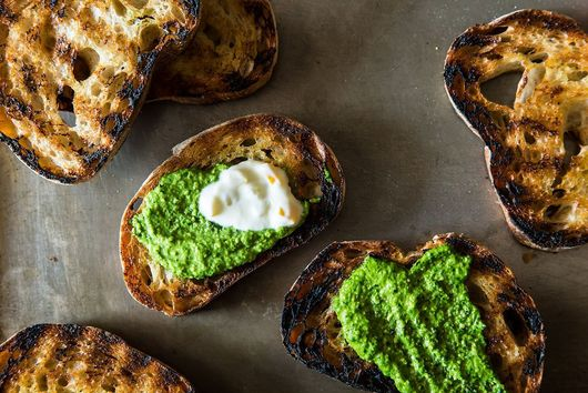 Grilled Bread with Thyme Pesto and Preserved Lemon Cream
