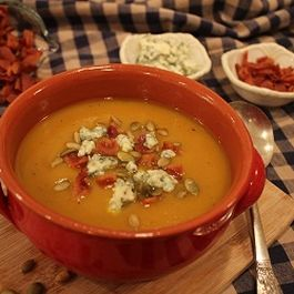 Gingered Pumpkin Soup with Crunchy Creamy Toppings