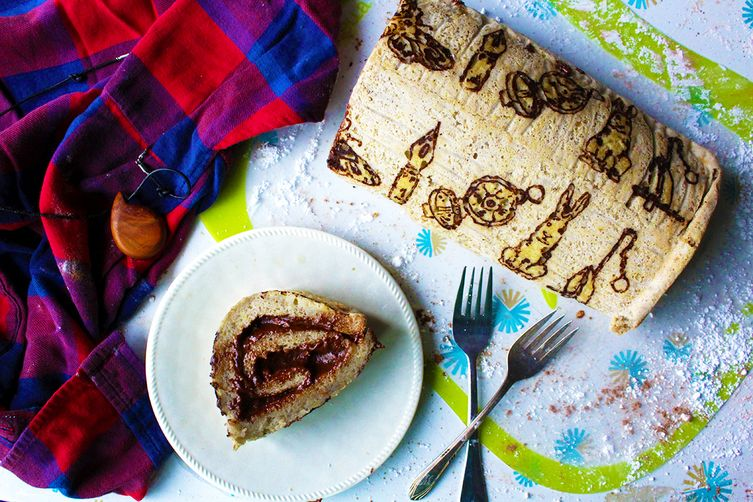 Patterned Chocolate Peanut Butter Cake Roll (gluten free & vegan)