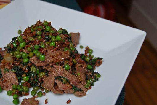 Sirloin Steak with Stir Fried Peas & Red Rice