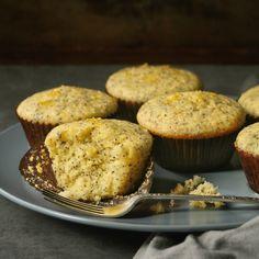 Sticky lemon & poppy seed muffins