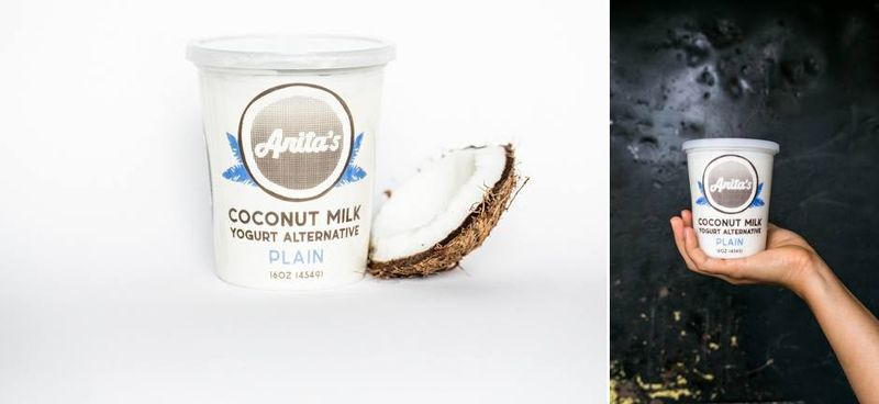 The newest packaging on Anita's large containers: the blue accents remain; the coconut is abstracted; the container is clear.