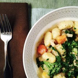 Creamy Gnocchi with Braised Chicken and Winter Vegetables