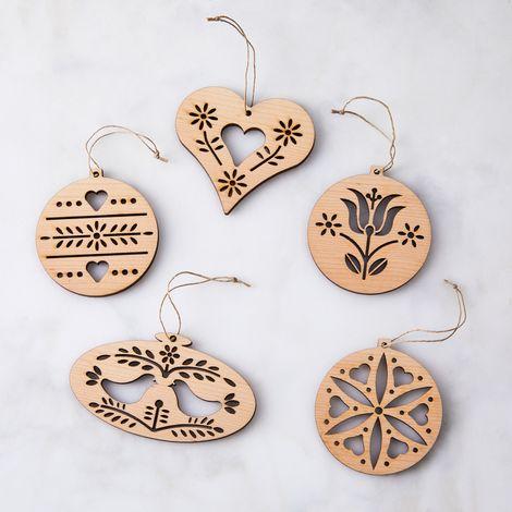 Laser-Cut Maple German Folk Ornaments (Set of 5)