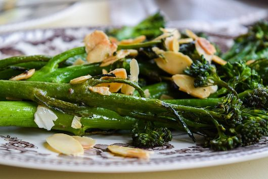 Tenderstem Broccoli (Broccolini) with Almonds & Anchovy Butter