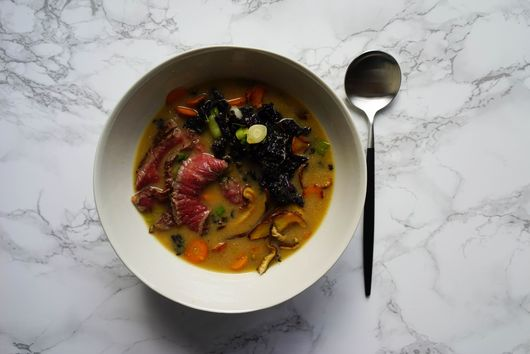 Nigel Slater's Miso Soup with Beef and Kale