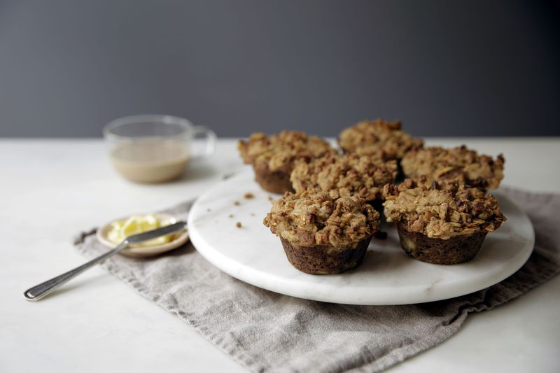 Banana Muffins with Peanut Butter Streusel