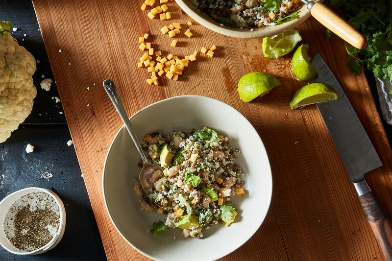 """Spicy """"Rice"""" and Bean Salad"""