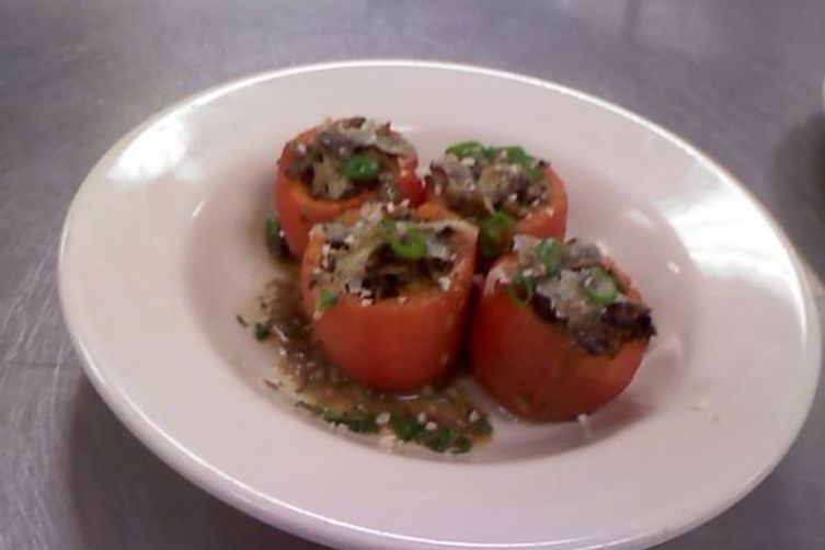 Paella Style Baked & Stuffed Heirloom Tomatoes