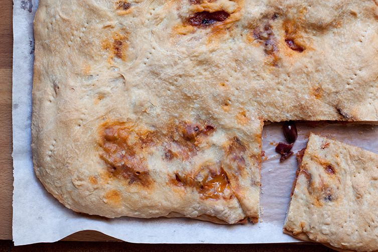Pizza Rustica (Focaccia Filled with Tomato, Onions & Olives)