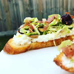 Raw Brussels Sprouts Crostini
