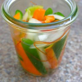 Pickled hot, sweet chili peppers and onions