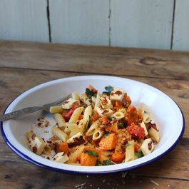 Penne with Roasted Pumpkin, Capsicum, Haloumi and Chorizo Crumb