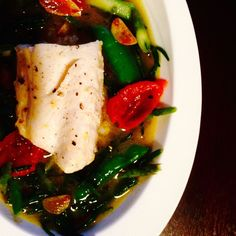 Black Cod Poached in Nearly Raw Heirloom Tomato Broth