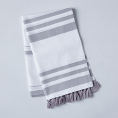 Striped Turkish Cotton Beach Throw with Tassels