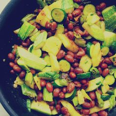 Pan Fried Zucchini with Shishito Peppers and Borlotti Beans