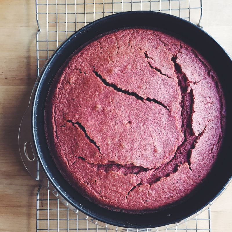 Our cake cracked—not under pressure, but under heat.
