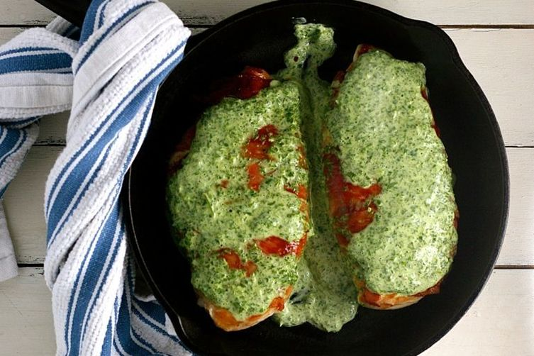 Serrano-Wrapped Chicken with Basil Sauce