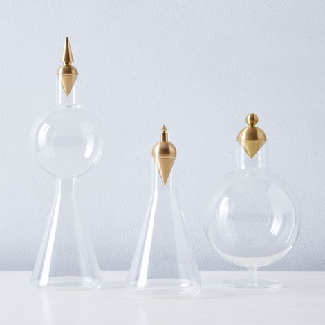 Geometric Glass & Brass Vessels
