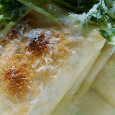 Baked Burrata Ravioli in Parmesan Broth