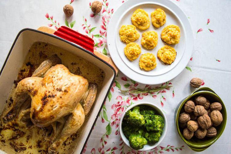 Lemon Roasted Chicken with Stoemp (Belgian Mashed Potatoes)