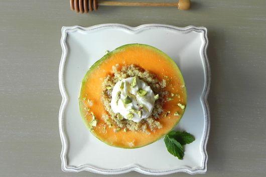 Charentais Melon with Spiced Quinoa, Yogurt, and Pistachio