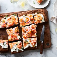 Pumpernickel Focaccia with Lox & Schmear