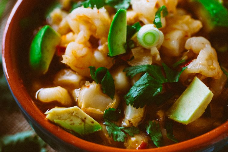 Spicy Shrimp Pozole with Avocado & Bacon