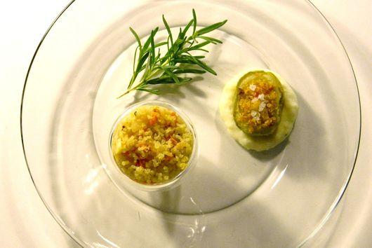 Quinoa-Stuffed Kohlrabi over Lemon-Rosemary Bechamel