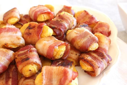 Baked Bacon-Wrapped Plantains with Maple Mustard Dip