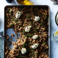 Crispy Roasted Shallot and Lentil Sheet Pan Mujadara