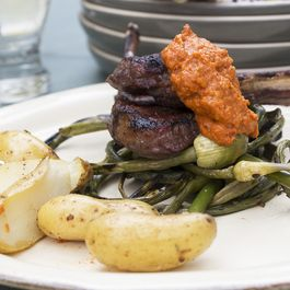 Grilled Lamb Chops & Garlic Scapes with Romesco Sauce