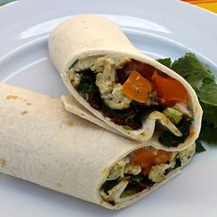 Kale, Butternut Squash, and Bacon Breakfast Burritos with Spicy Chipotle Sauce