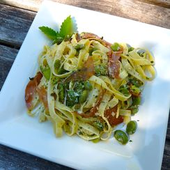 Springtime Pasta with Fava Beans and Herbed Ricotta