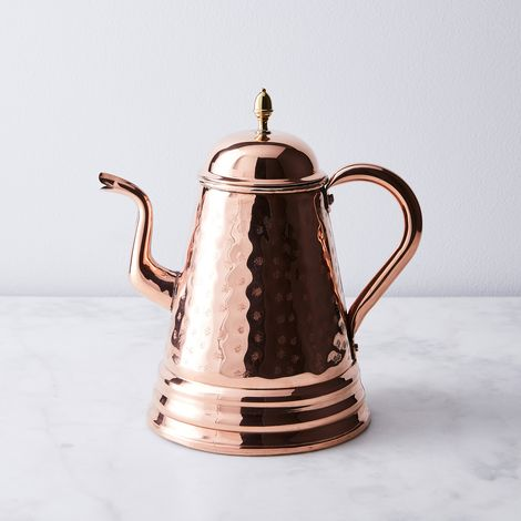 Vintage Copper French Large Hammered Coffee Pot, Early 20th Century