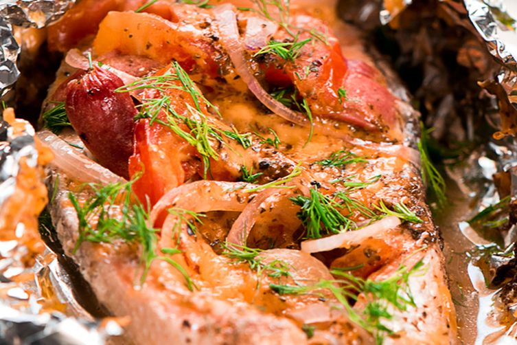 BAKED SALMON RECIPE FOIL WITH CHORIZO AND CHEESE
