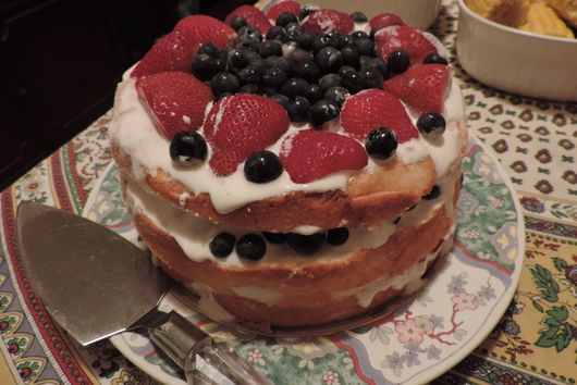 Red-White& Blue Layered Buttermilk Cake
