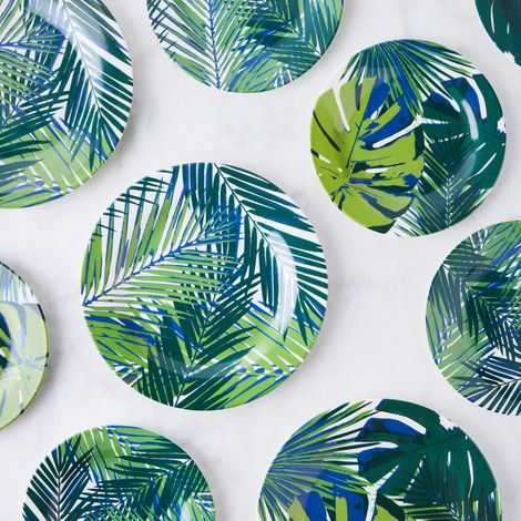Palm Leaf Melamine Plates (Set of 4)