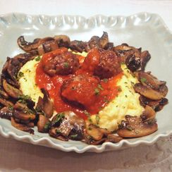 Polenta with spicy meatballs and sautéed mushrooms