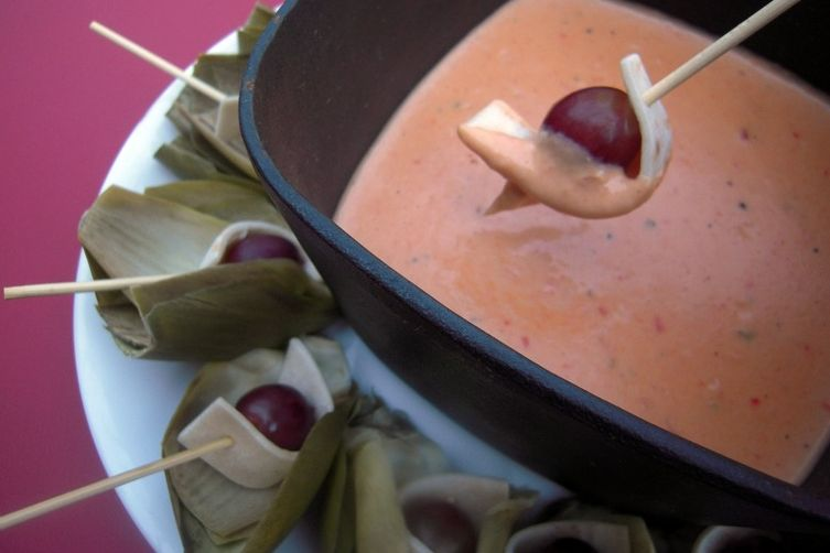 Artichoke Leaves and Cumin Sour Grape Dippers with Pepper Jack Fondue