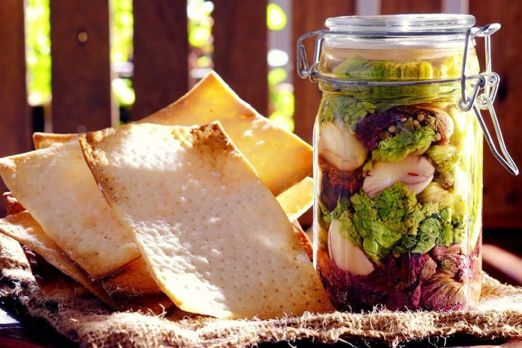 Gluten-Free Matzo with Pickled Lettuce
