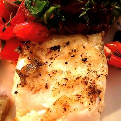 Grilled Sea Bass with Spicy Heirloom Salsa