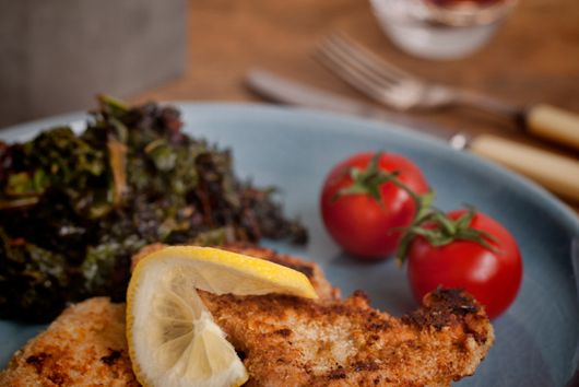 Chicken Schnitzel and Slow Cooked Kale