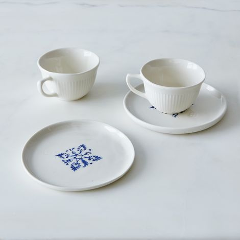 Porcelain Tea Cups & Saucers (Set of 2)