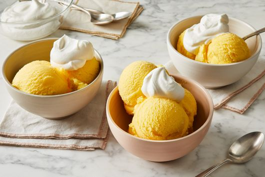 Orange Sherbet With Salted Whipped Cream