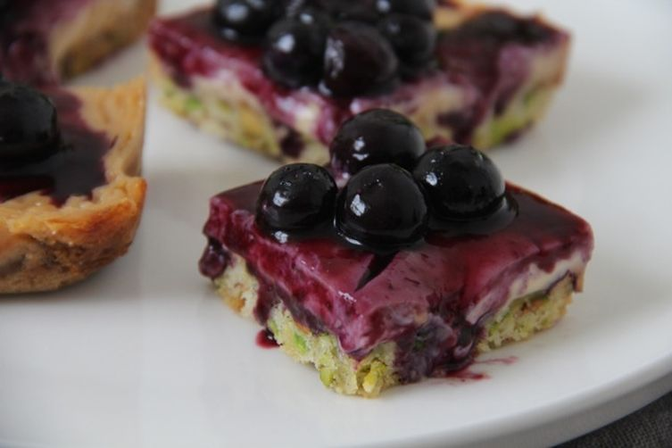 Caramel Custard Blueberry Bars