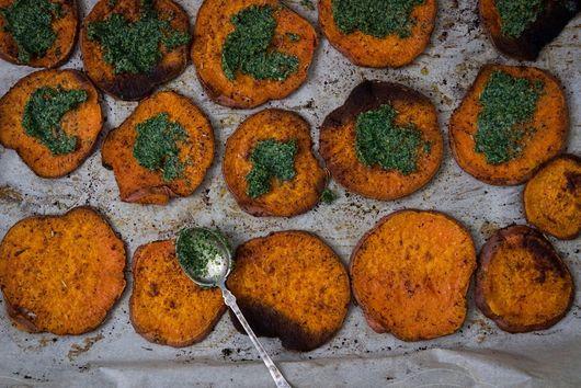 Roasted Sweet Potato with Kale & Walnut Pesto
