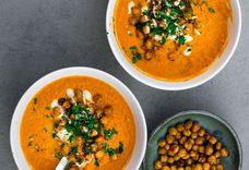 vegan oven roasted harissa carrot - tahini soup