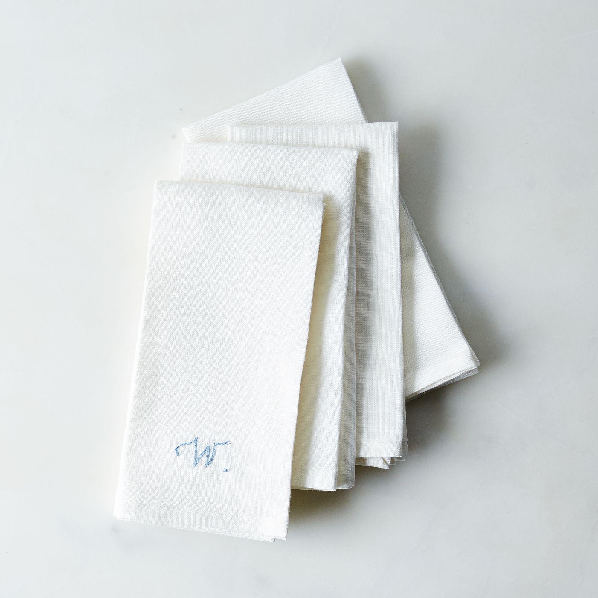 white linen napkins with monogram option set of 4 on food52